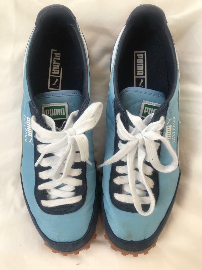 2efa2324b3c Puma Fast Rider blue and white trainers