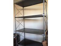 Shelf / Bookshelves black glass - silver metal