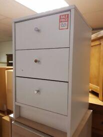malibu 3 drawer bedside - white