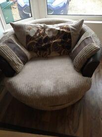 Brown fabric 2 seater swivel chair (+free 4 seater sofa)