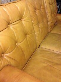 Brown vintage leather sofa