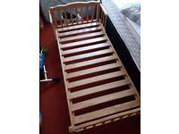 SAPLING PINE JUNIOR BED FRAME 140 X 70, PLUS MATTRESS
