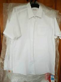 M&S 6 Ultimate Non Iron Short Sleeved Long Length school blouses age 14/15