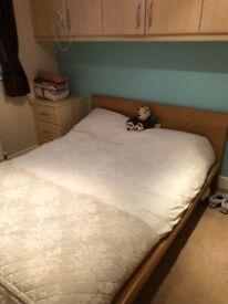 Ikea Oak Vaneer Double Bed Frame
