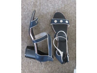 ladies shoes navy with back zip size 8 worn once