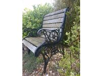 Garden seat. Wrought iron and wood