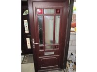 FOR SALE: brown uPVC door with obscured side panel