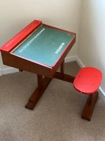 Child's all in one wooden desk and seat
