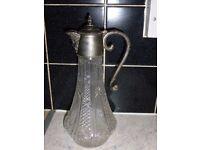 Silver plate & clear glass vintage Art Deco antique wine jug decanter