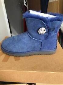 Mini Bailey Button Bling Ugg Boots - Ink Blot size 4/4.5