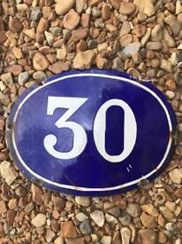Vintage French enamel house number 30
