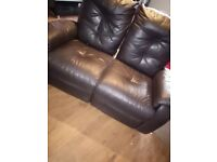 2x 2 seater electric leather recliners & marble fire place