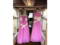 Pair of brand new handmade chiffon and silk bridesmaid dresses