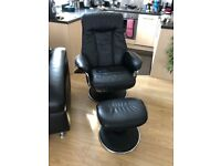 Black reclining chair and stool