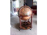 """Zaffoli """" Bacco"""" Spiral leg bar globe. Beautiful Italian made bar globe with large drinks cabinet."""