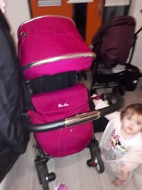 Silver cross pram, 3 in 1 travel system with simplicity car seat, rear facing mirror and toy