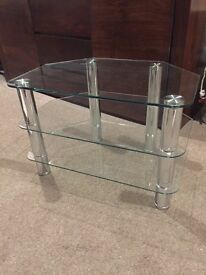Glass and Chrome corner TV and media stand