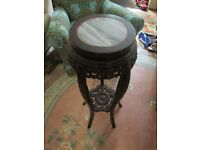 Chinese lacquered plant stand, carved with stone/marble top.850 tall.320mm.wide