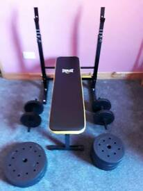 Everlast folding weight bench with 50kg weights
