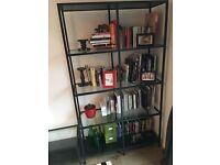 Ikea shelving unit with glass shelves