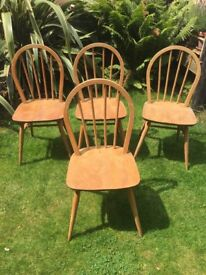 Set of four 4 vintage mid century Ercol 1960s dining chairs kitchen