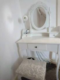 Vintage white vanity table with stool