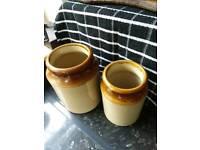 Two stone glazed jars