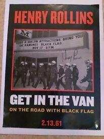 Henry Rollins Signed Poster punk black flag misfits minor threat