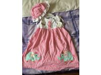 9-12 girls dress from m&co. Brand new with tags on. Integral body suit and comes with matching hat.