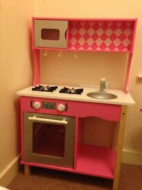 Girls kitchen playset pink & white