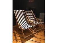 Two blue and white striped Conran deckchairs
