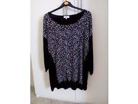 Black patterned top, size 20. £6.