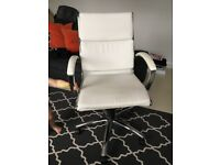 White leather office swivel chair for sale