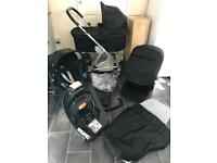 mamas and papas urbo travel system pram pushchair buggy black 3in1 car seat cybex isofix base