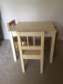 Kid's wooden table and chairs with storage chest