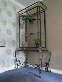Wrought Iron Effect Tall Display Unit with 3 Clear Glass Shelves