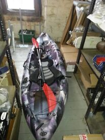 Sea fishing kayak for sale comes with paddle and seat harness