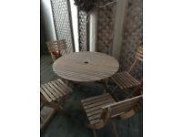Robert Dyas Wooden Garden Table and 4 Chairs