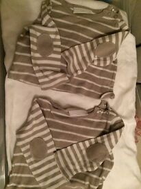 Little White Company Vest Tops - Taupe/white x 2 available 3-6 months