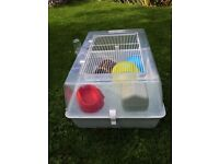Grey Medium Plastic Hamster cage- Used but in very good condition with accessories ans some treat