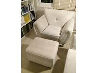 Arm chair and matching foot stool. Collection Only. Good condition and fire tags still attached
