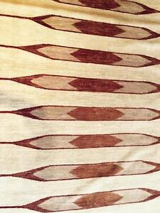 Maria Midwest Hand Knotted Burgundy Gold and Caramel Stripe Rug