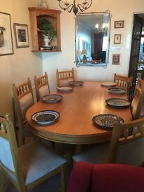 "Oak dining table, solid oak, 42"" x 78"" Excellent condition."