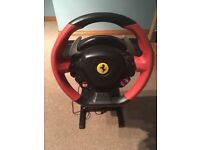 Ferrari thrustmaster, steering wheel , stand & pedals like new.