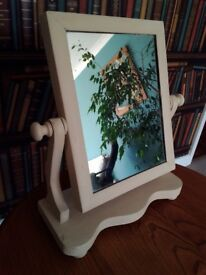 Swing toilet dressing mirror. Antique. Painted with Annie Sloan Old Ochre cream chalk paint & waxed.