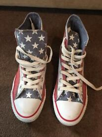 Converse stars and strips high tops trainers