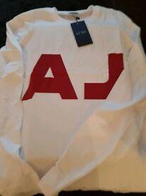 "NEW ARMANI ""AJ"" WHITE 100% COTTON LONG SLEEVED T-SHIRT"