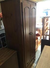 Large pine wardrobe with drawer
