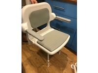 Disabled shower seat with legs, arms and handles