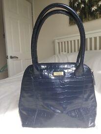 Blue leather mock-croc Osprey handbag